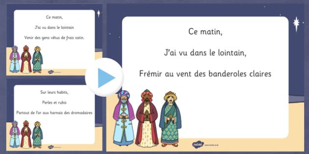La marche des rois Christmas Carol PowerPoint French-  noel, Noël, lyrics, paroles, song, sing