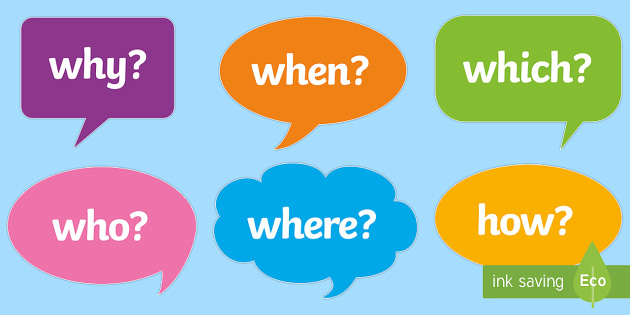 question words on speech bubbles questions literacy english