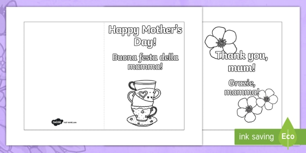 MotherS Day Card Templates Colouring EnglishItalian