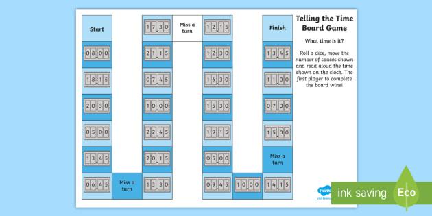 Editable Telling the Time Digital Clocks Board Game