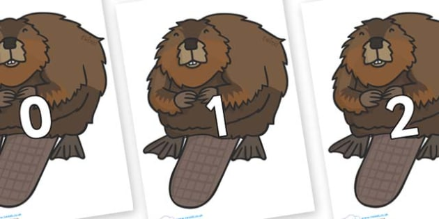Numbers 0-31 on Beavers - 0-31, foundation stage numeracy, Number recognition, Number flashcards, counting, number frieze, Display numbers, number posters
