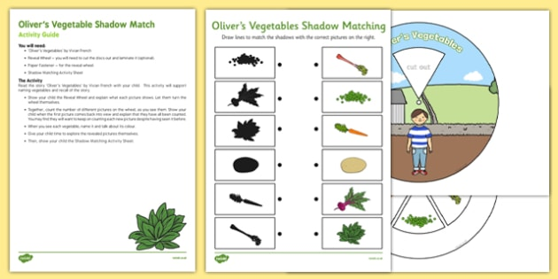 Olivers Vegetables Shadow Match Busy Bag Resource Pack for Parents