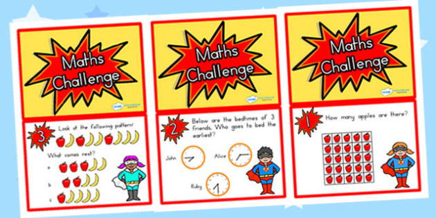 Year Two Maths Challenge Cards - year two, year 2, maths, cards