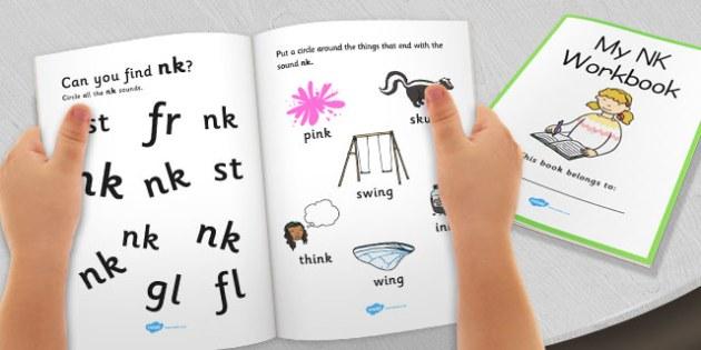 My 'nk' Letter Blend Workbook - workbook, nk, letters, blend, alphabet, activity, handwriting, blends, letter, letter blends, ng and nk word endings worksheets