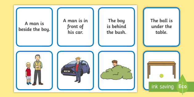 Preposition Matching Pictures And Sentences Activity