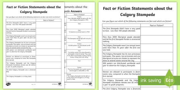 Fact or Fiction Statements about the Calgary Stampede Activity Sheet - Calgary Stampede Resources, worksheet, fact, fiction, challenge,