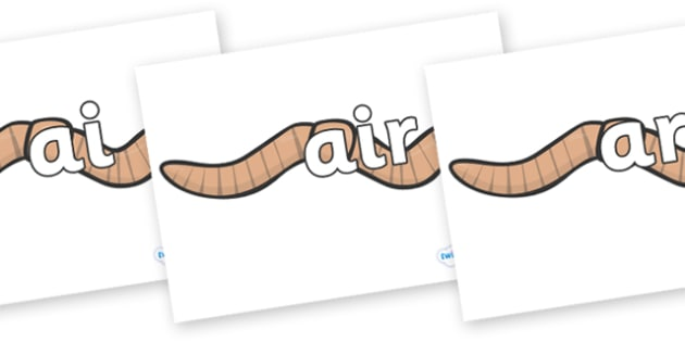 Phase 3 Phonemes on Worms - Phonemes, phoneme, Phase 3, Phase three, Foundation, Literacy, Letters and Sounds, DfES, display