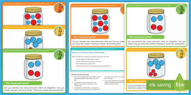 Eyfs Maths Estimation And Counting Chilli Challenges Pom Pom Jars