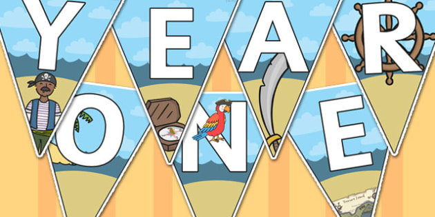 Welcome to Year One Bunting Pirate Themed - year one, welcome to year one, bunting, themed bunting, display bunting, bunting flags, flag bunting, cut outs