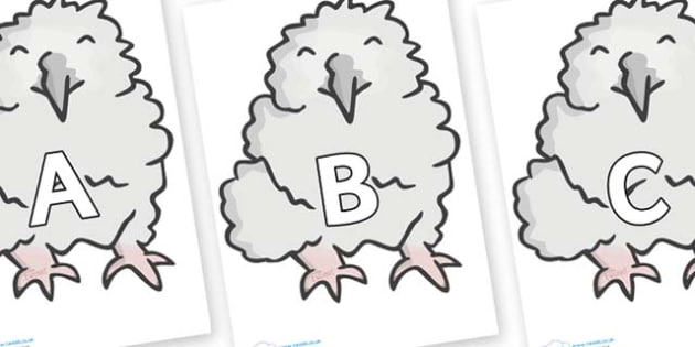A-Z Alphabet on Baby Owls - A-Z, A4, display, Alphabet frieze, Display letters, Letter posters, A-Z letters, Alphabet flashcards