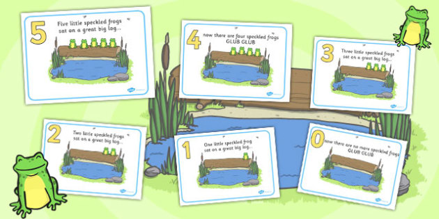 Five Speckled Frogs Display Posters - Number rhyme, speckled frogs, frog, frog rhyme, nursery rhyme, numeracy, numbers, counting, foundation stage numeracy