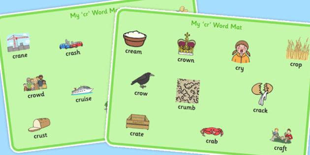 CR Word Mats - sen, sound, special educational needs, cr, word mats