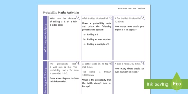 Foundation Probability Non Calculator Revision Activity Mat