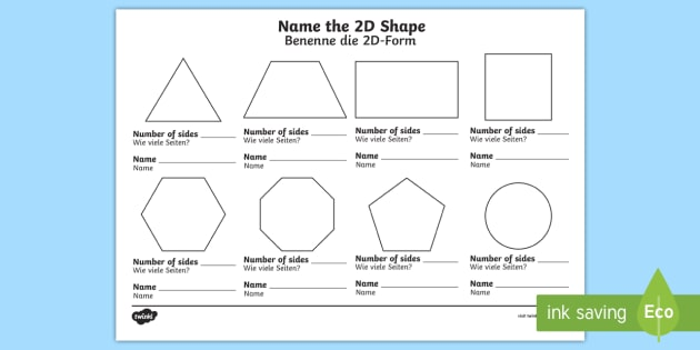 name the 2d shape ks1 worksheet activity sheet english german worksheet. Black Bedroom Furniture Sets. Home Design Ideas