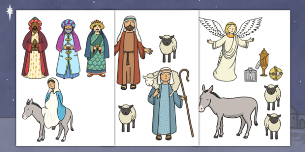 Cut Out Nativity Scene - Nativity, Christmas Story, xmas, Visual Aids, Mary, Joseph, Jesus, shepherd, wise men, Herod, angel, donkey, stable, Gabriel, First Christmas,Inn, Star, God