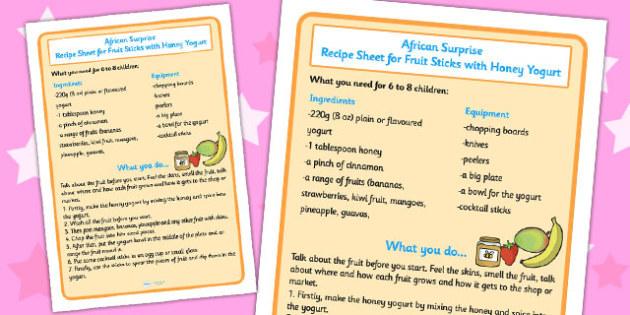 Fruit Sticks with Yoghurt Recipe Sheet to Support Teaching on Handa's Surprise - sheets