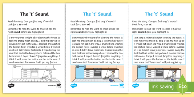 Northern Ireland Linguistic Phonics Stage 5 and 6 Phase 3b, 't' Sound Activity Sheet - Linguistic Phonics, Phase 3b, Northern Ireland, 't' sound, sound search, text, worksheet