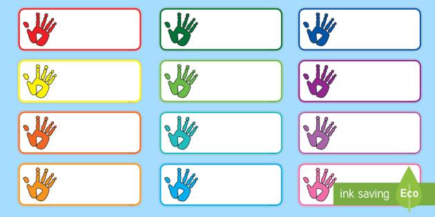locker tag templates - handprint drawer peg name labels handprint drawer peg name