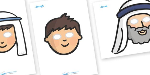 Joseph Role Play Masks - Joseph, coat, Jacob, bible story, bible, slave, role play mask, role play, masks, brothers, cupbearer, pharao, prison, cows, corn, dreams, Palace, Egypt, fat, thin