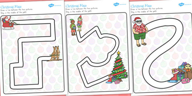Christmas Pencil Control Path Worksheets - festivities, motor