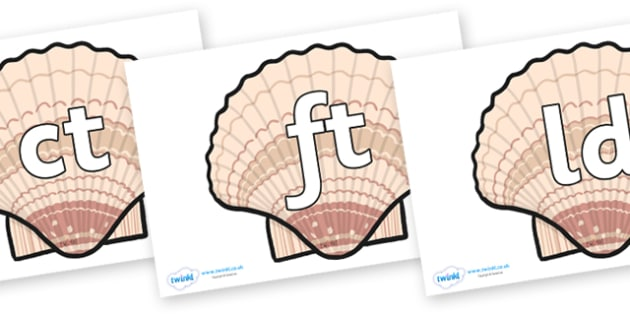Final Letter Blends on Seashells - Final Letters, final letter, letter blend, letter blends, consonant, consonants, digraph, trigraph, literacy, alphabet, letters, foundation stage literacy