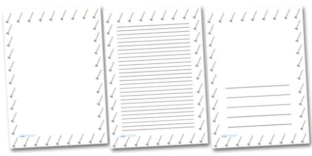 Leaf Rake Portrait Page Borders- Portrait Page Borders - Page border, border, writing template, writing aid, writing frame, a4 border, template, templates, landscape