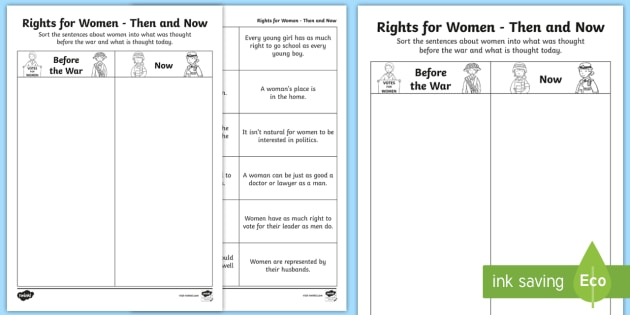 rights for women then and now worksheet suffragettes history. Black Bedroom Furniture Sets. Home Design Ideas