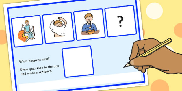 What Happens Next? Fill in the Blank Worksheet for 'Boy Getting Up' - what happens next, sen, boy