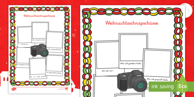 Weihnachtsschnapschüsse Arbeitsblätter - Weihnachten