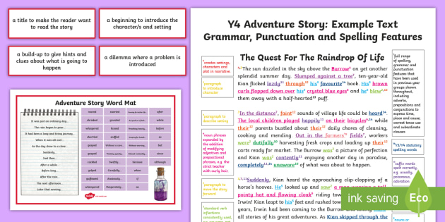 Y2 story writing: adventure model/example text example texts y2.