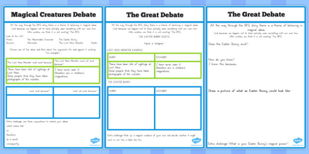 Magical Creatures Debate Worksheet to Support Teaching on The BFG - australia, bfg, debate