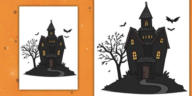Editable Halloween Haunted House (A4) - Editable Halloween Haunted House, haunted house, A4, display, poster, Halloween, pumpkin, witch, bat, scary, black cat, mummy, grave stone, cauldron, broomstick, haunted house, potion, Hallowe'en