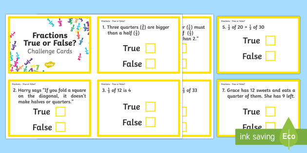 Year 2 Fractions True or False? Challenge Cards