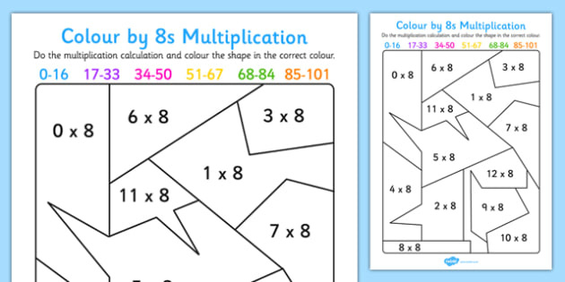 Colour by 8s Multiplication Activity Worksheet - colour, 8s, multiplication, activity, worksheet