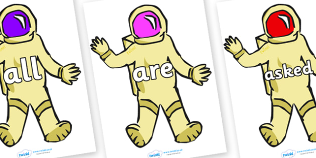 Tricky Words on Astronauts - Tricky words, DfES Letters and Sounds, Letters and sounds, display, words