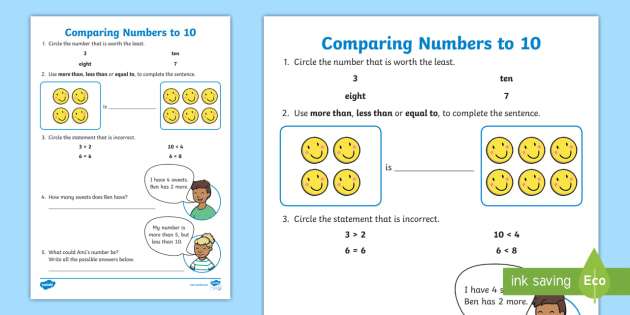 Comparing Numbers To 10 Worksheet Teacher Made - 34+ Comparing Numbers 1-10 Worksheets Kindergarten Images