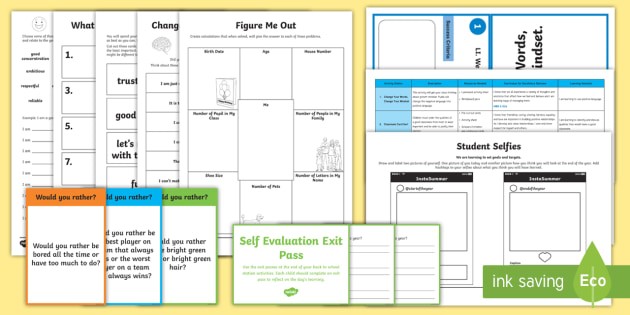 Second Level Back to School Activity Stations - Back to