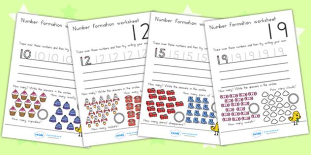 Number Formation Worksheets 10 20 - number forming, motor skills, overwriting