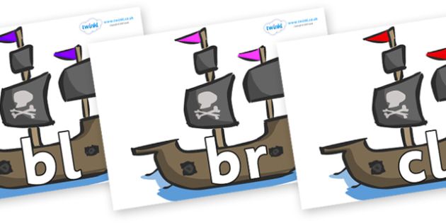 Initial Letter Blends on Pirate Ships - Initial Letters, initial letter, letter blend, letter blends, consonant, consonants, digraph, trigraph, literacy, alphabet, letters, foundation stage literacy
