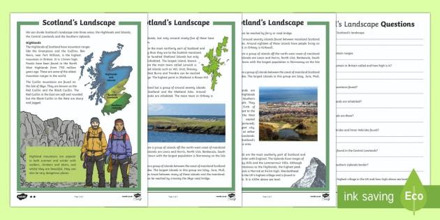 Scotland's Landscape Differentiated Reading Comprehension Activity-Scottish