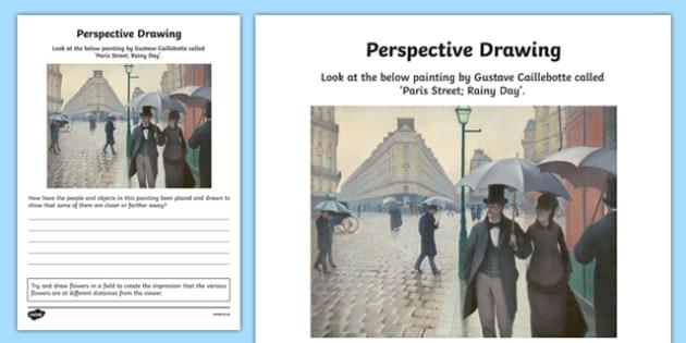 Perspective Drawing Activity Sheet, worksheet