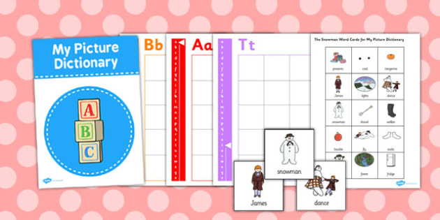 Picture Dictionary to Support Teaching on The Snowman - picture dictionary, dictionary, snowman