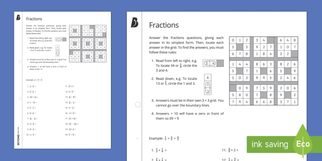 Number Search Puzzle: Fractions Four Operations Worksheet