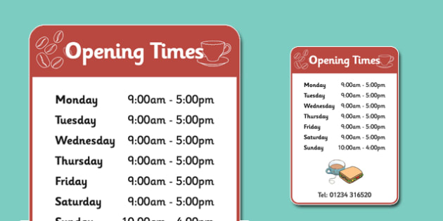 Tea Time Cafe Hours