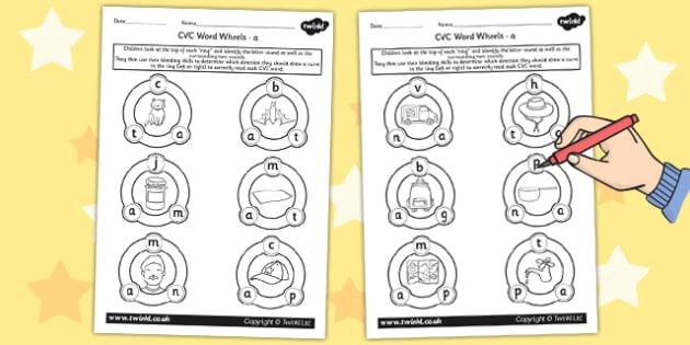 CVC Word Wheel Worksheets a - CVC words, word wheel, visual aid