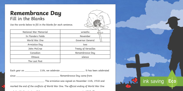 Remembrance Day Fill In The Blanks Worksheet Activity Sheet
