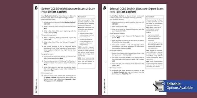 edexcel gcse poetry exam prep 39 belfast confetti 39 worksheet. Black Bedroom Furniture Sets. Home Design Ideas