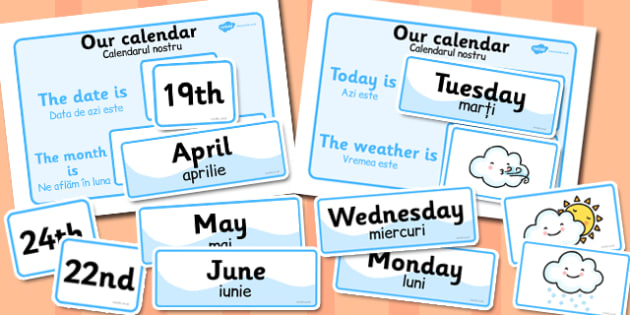 Weather Calendar Romanian Translation - romanian, translation