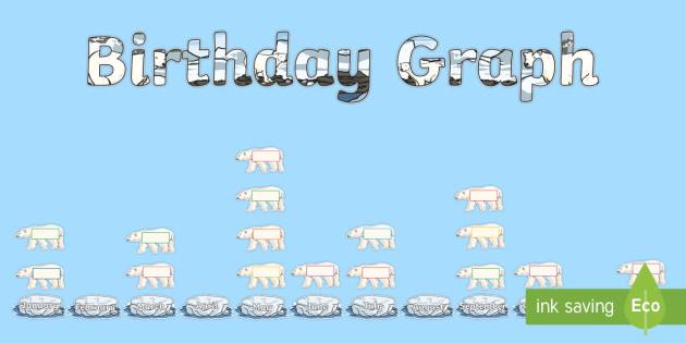 Polar Bear Themed Birthday Graph Display Pack - polar, arctic, ice, snow, bear, winter, Christmas, Xmas, maths, pictogram, graph, chart