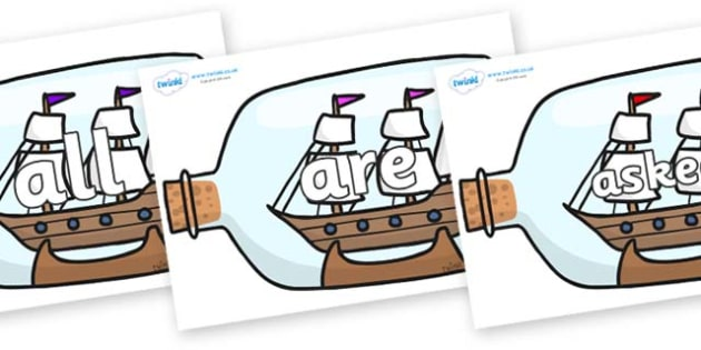 Tricky Words on Ship in a Bottles - Tricky words, DfES Letters and Sounds, Letters and sounds, display, words